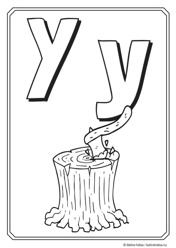 aktiviteter för barn, barnaktiviteter, pyssla och lek, knep och knåp, måla, färglägg, målarbild, alfabetet, bokstaven Y