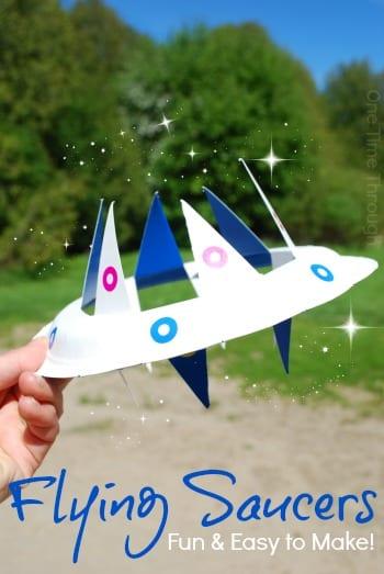pyssel, barnpyssel, pyssel för barn, aktiviteter, flygande tefat, rymdskepp som kan flyga, papperstallrik, pyssla med papperstallrikar