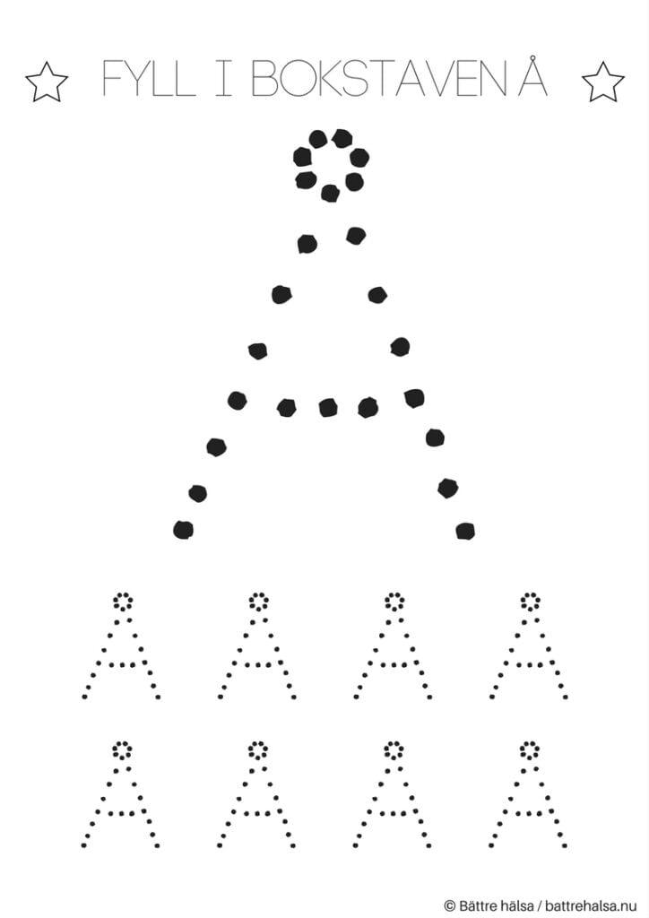 aktiviteter för barn, barnaktiviteter, pyssla och lek, knep och knåp, lära sig skriva, lära sig alfabetet, lära sig bokstaven Å