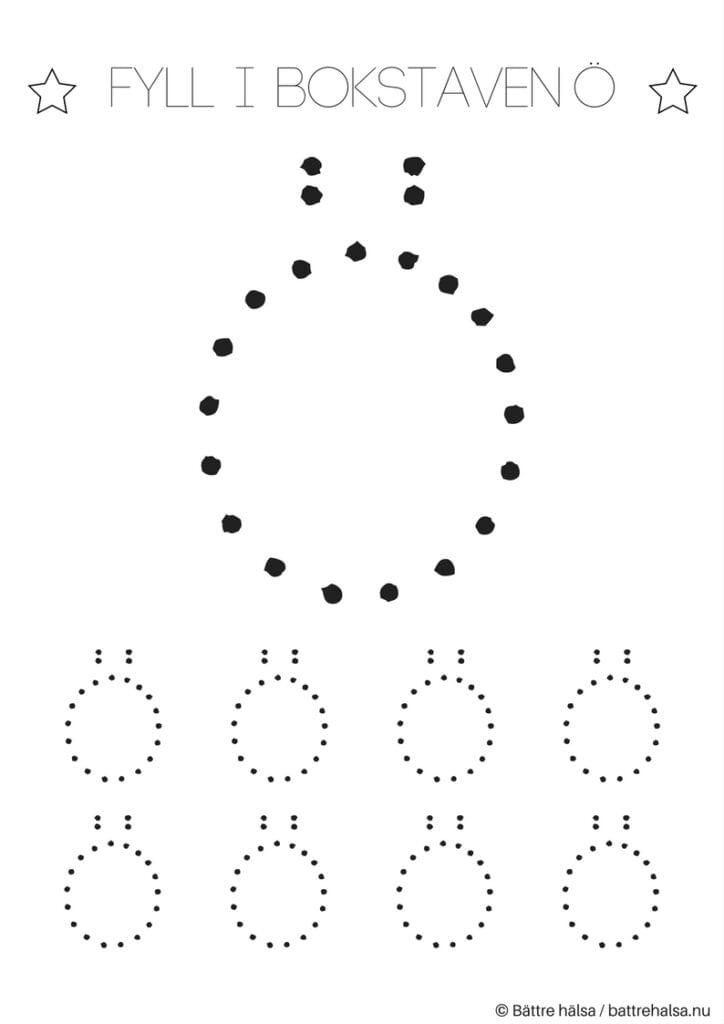 aktiviteter för barn, barnaktiviteter, pyssla och lek, knep och knåp, lära sig skriva, lära sig alfabetet, lära sig bokstaven Ö