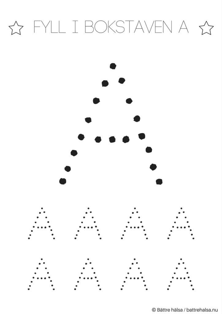aktiviteter för barn, barnaktiviteter, pyssla och lek, knep och knåp, lära sig skriva, lära sig alfabetet, lära sig bokstaven A