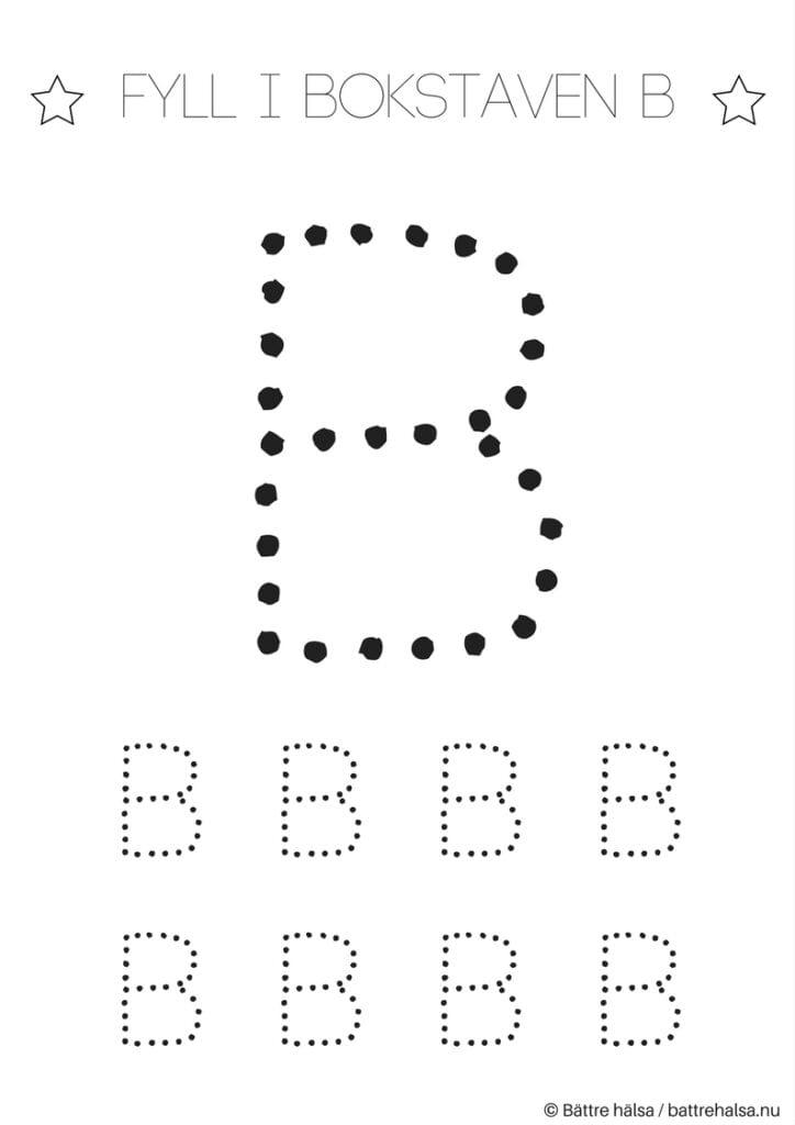 aktiviteter för barn, barnaktiviteter, pyssla och lek, knep och knåp, lära sig skriva, lära sig alfabetet, lära sig bokstaven B