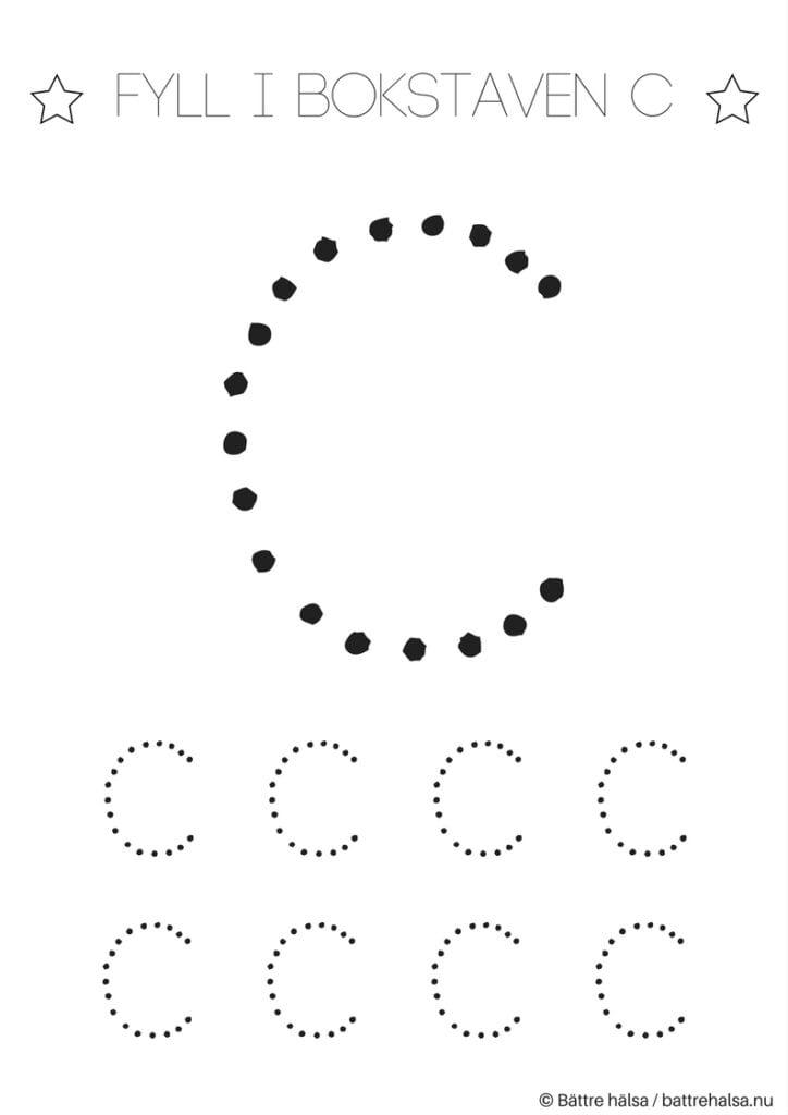 aktiviteter för barn, barnaktiviteter, pyssla och lek, knep och knåp, lära sig skriva, lära sig alfabetet, lära sig bokstaven C