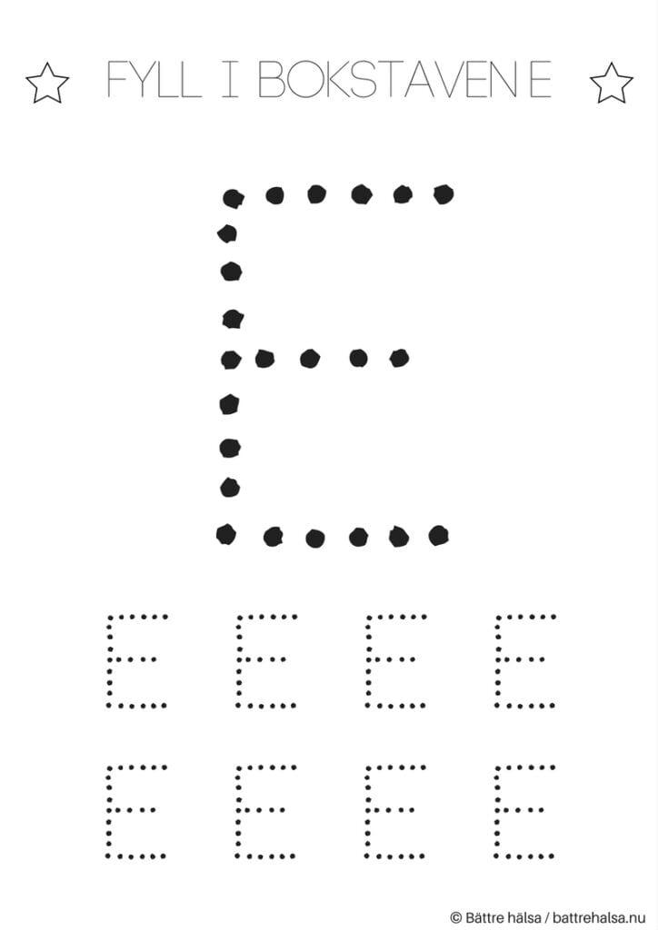 aktiviteter för barn, barnaktiviteter, pyssla och lek, knep och knåp, lära sig skriva, lära sig alfabetet, lära sig bokstaven E