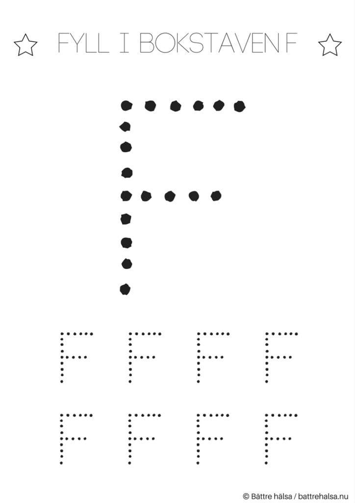 aktiviteter för barn, barnaktiviteter, pyssla och lek, knep och knåp, lära sig skriva, lära sig alfabetet, lära sig bokstaven F