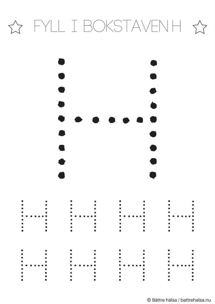 aktiviteter för barn, barnaktiviteter, pyssla och lek, knep och knåp, lära sig skriva, lära sig alfabetet, lära sig bokstaven H