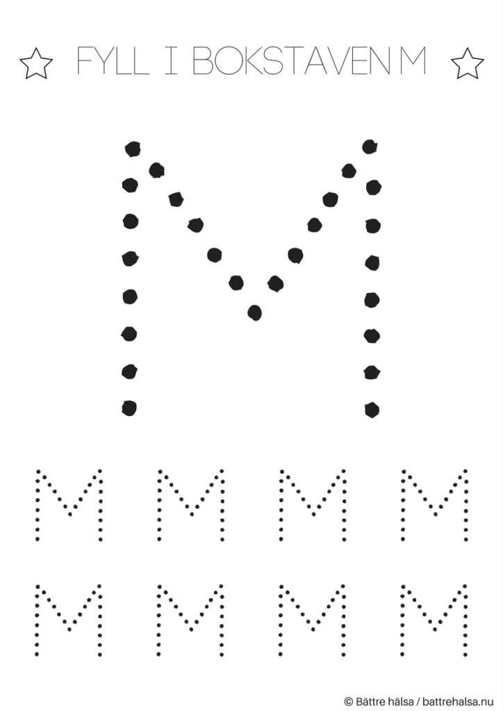 aktiviteter för barn, barnaktiviteter, pyssla och lek, knep och knåp, lära sig skriva, lära sig alfabetet, lära sig bokstaven M