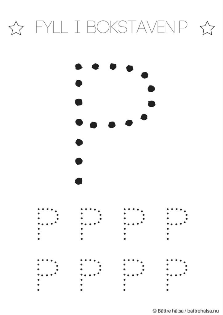 aktiviteter för barn, barnaktiviteter, pyssla och lek, knep och knåp, lära sig skriva, lära sig alfabetet, lära sig bokstaven P
