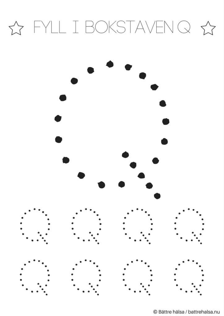 aktiviteter för barn, barnaktiviteter, pyssla och lek, knep och knåp, lära sig skriva, lära sig alfabetet, lära sig bokstaven Q