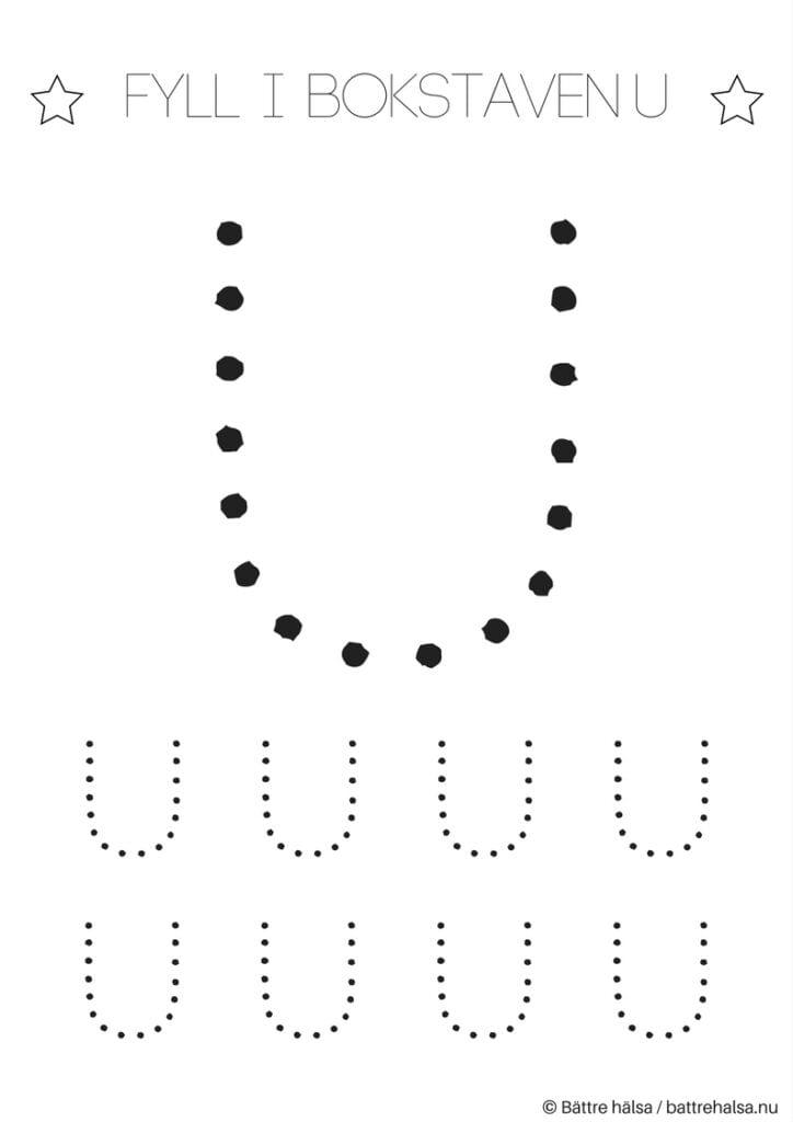 aktiviteter för barn, barnaktiviteter, pyssla och lek, knep och knåp, lära sig skriva, lära sig alfabetet, lära sig bokstaven U