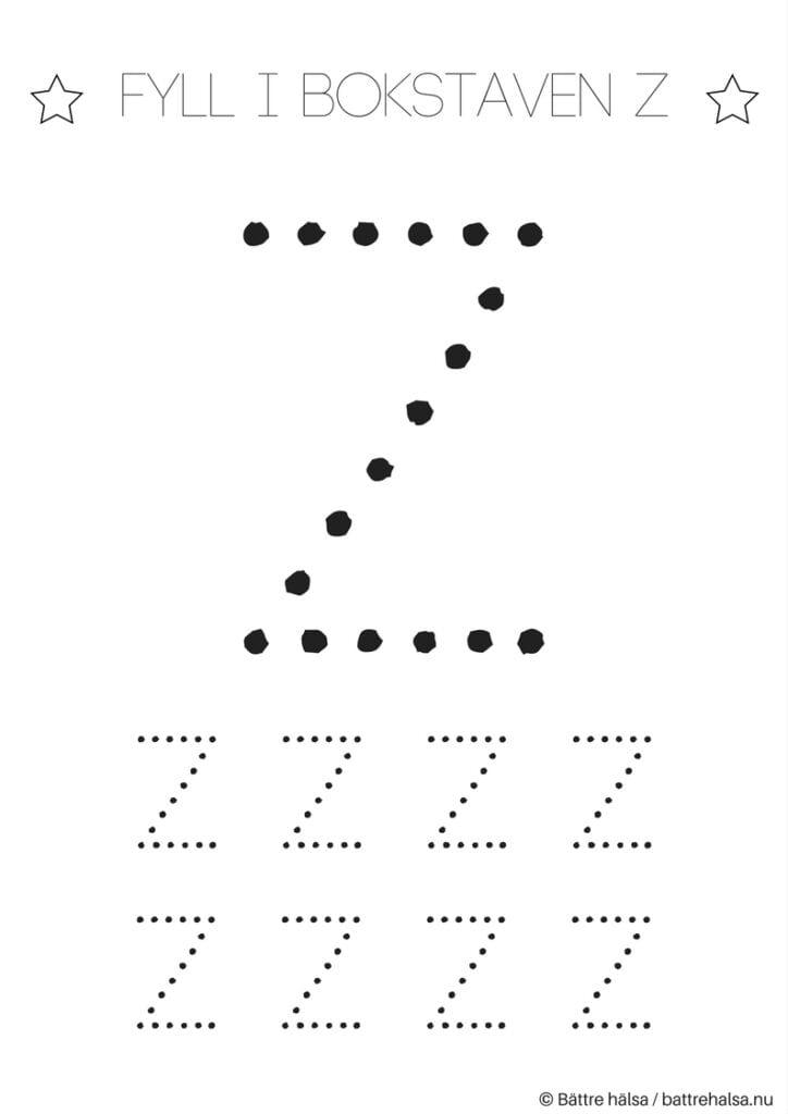 aktiviteter för barn, barnaktiviteter, pyssla och lek, knep och knåp, lära sig skriva, lära sig alfabetet, lära sig bokstaven Z