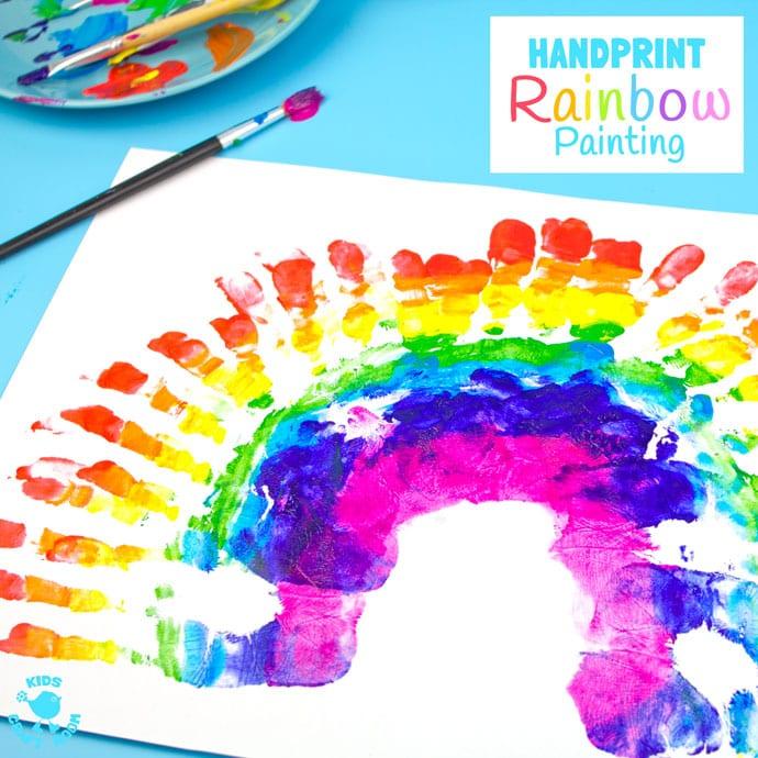 pyssel, barnpyssel, pyssel för barn, aktiviteter, regnbåge, regnbågar, regnbågspyssel, tryck, handavtryck, måla med händerna, måla, målarfärg, hobbyfärg, regnbågsfärger