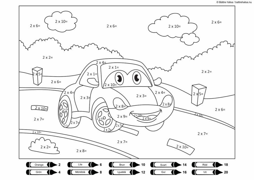 lära sig räkna, räkna, matte, pyssla och lek, bättre hälsa, pyssel för barn, barnpyssel, matte, matematik, mattepyssel, pyssel, knep och knåp, måla, målarbilder, målarbild för barn, räknemåla, multiplikation, tvåans multiplikationstabell, gångertabellen, bil, bilfigur