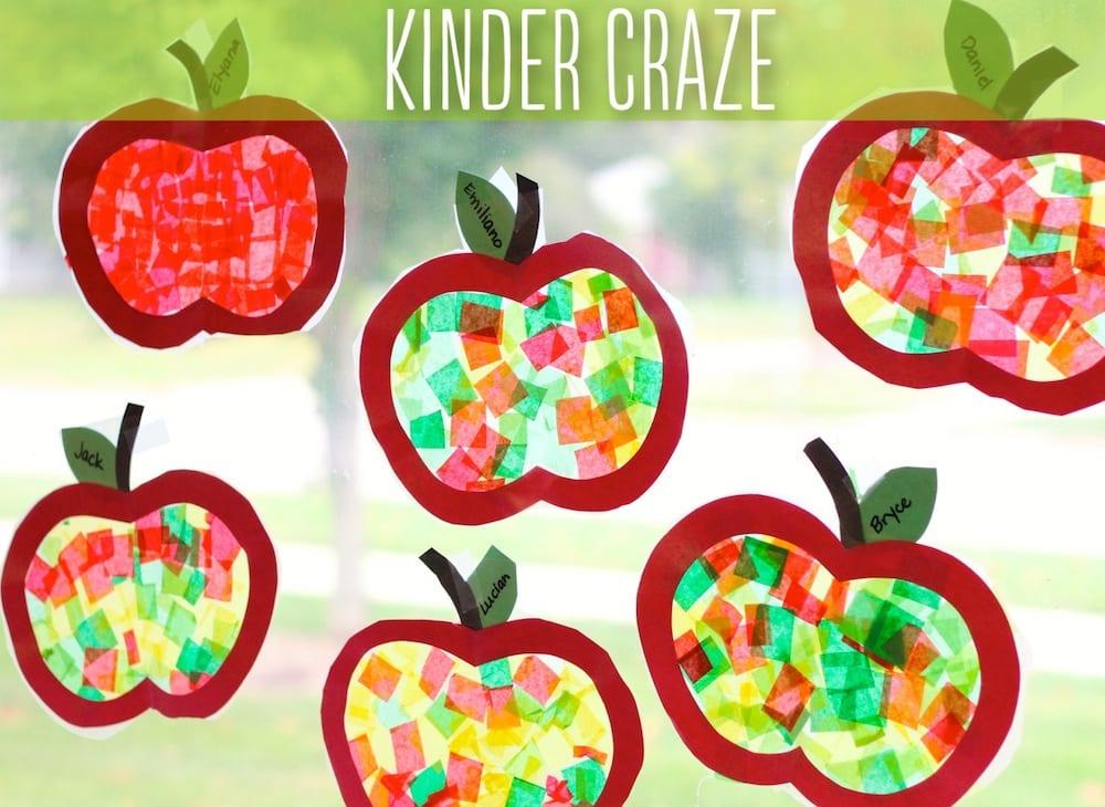 höstpyssel, pyssel, pysseltips, pyssla, barnpyssel, pyssel för barn, äpple, fönsterdekoration, färgat glas, silkespapper, papperspyssel