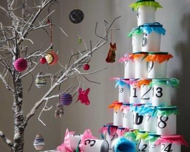 adventskalender, kalender, julkalender, advent, pyssel, julpyssel, barnpyssel, pyssel för barn, konservburk, pyssla med konservburkar, måla konservburkar, remake, återbruka