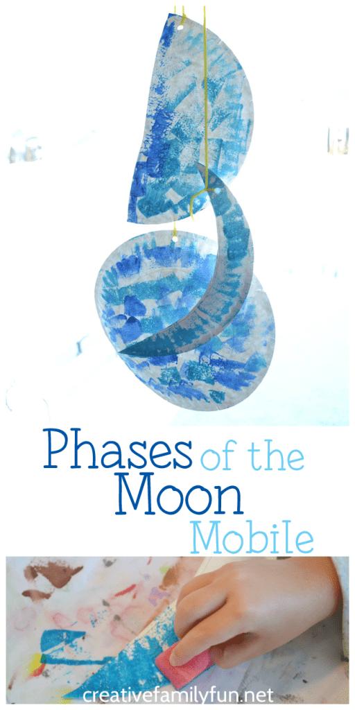 pyssel, pysseltips, pysselidé, barnpyssel, pyssel för barn, rymden, månen, lera, måla, månfaser, de olika månfaserna, papperstallrik, pyssla med papperstallrikar, göra en mobil