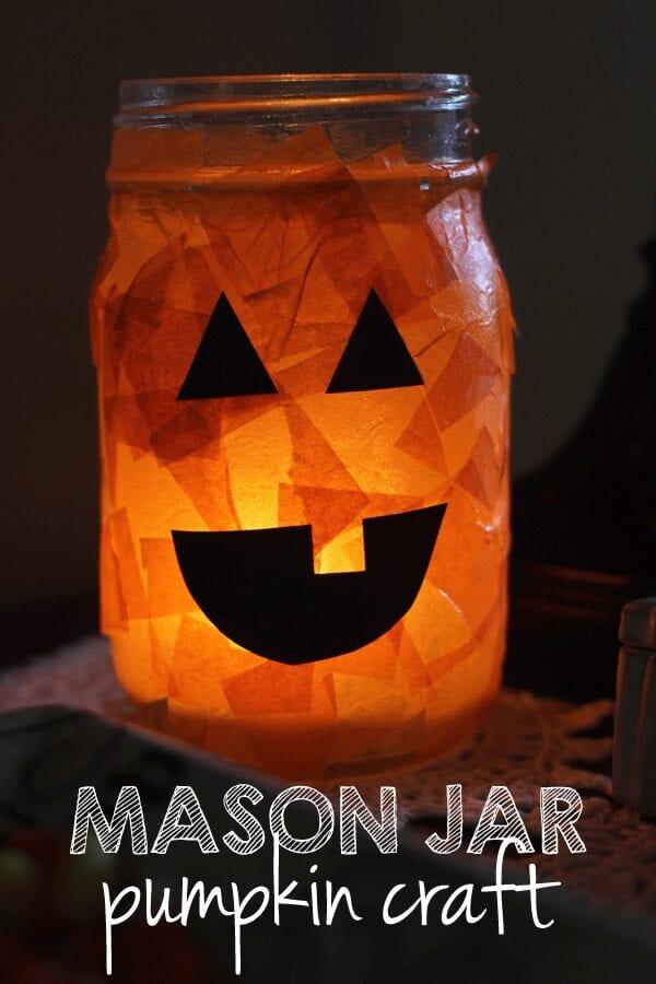 pyssel, pysseltips, pysselidé, barnpyssel, pyssel för barn, halloween, halloweenpyssel, skapa, pumpa, pumpor, ljuslykta, glasburk, silkespapper