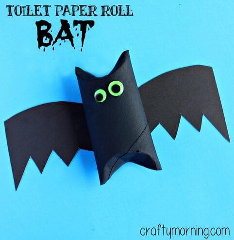 pyssel, pysseltips, pysselidé, barnpyssel, pyssel för barn, halloween, halloweenpyssel, skapa, fladdermöss, fladdermus, toarulle, toarullepyssel, pyssla toarullar, toalettrulle