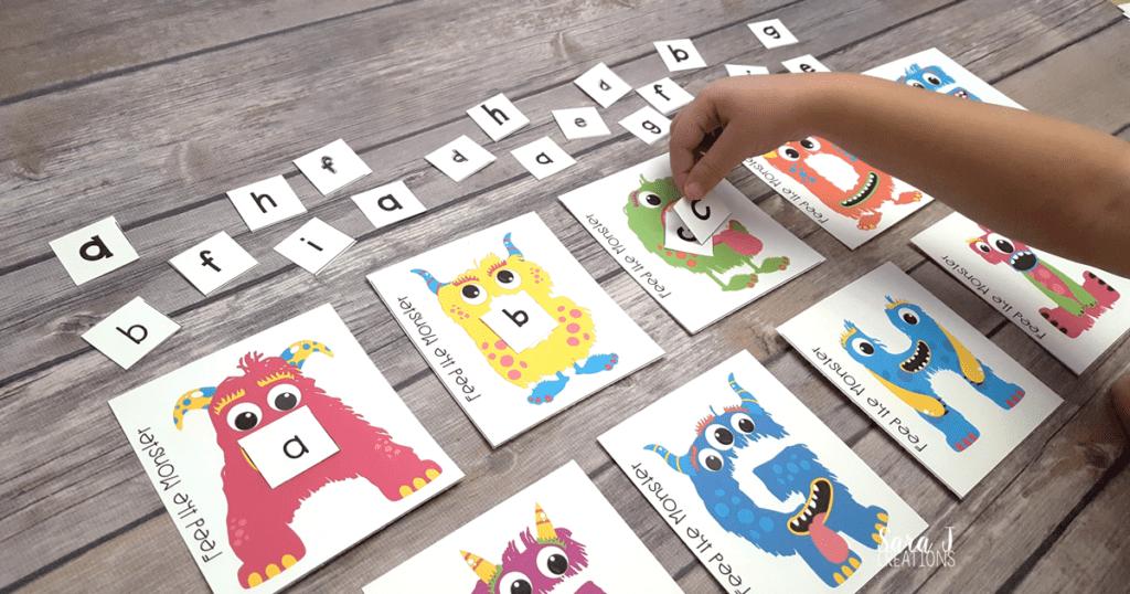 aktiviteter för barn, barnaktiviteter, pyssla och lek, knep och knåp, lektioner, skola, lektionstips, förskola, alfabet, monsteralfabet, lära sig alfabetet, lära sig läsa, lära sig skriva