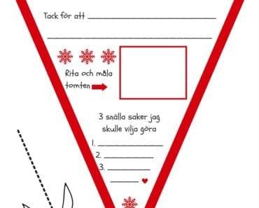 skriva brev till tomten, önskelista, vimpel, julpyssel, pyssel inför jul, barnpyssel, pyssel för jul, knep och knåp, aktivitetsblad