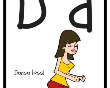 aktiviteter för barn, barnaktiviteter, pyssla och lek, knep och knåp, lära sig alfabetet, lära sig bokstaven D, röra på sig, lekar, rörelselekar