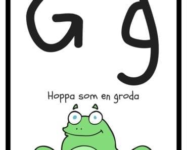 aktiviteter för barn, barnaktiviteter, pyssla och lek, knep och knåp, lära sig alfabetet, lära sig bokstaven G, röra på sig, lekar, rörelselekar