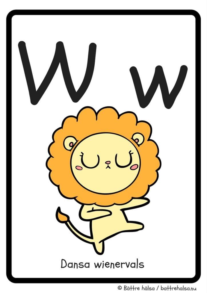 aktiviteter för barn, barnaktiviteter, pyssla och lek, knep och knåp, lära sig alfabetet, lära sig bokstaven W, röra på sig, lekar, rörelselekar