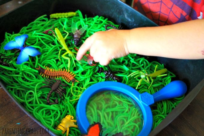 barn, barnlekar, lekar för barn, sensorisk lek, sinneslåda, sinneslådor, sensoriska lekar, stimulera barns sinnen, insekter, småkryp
