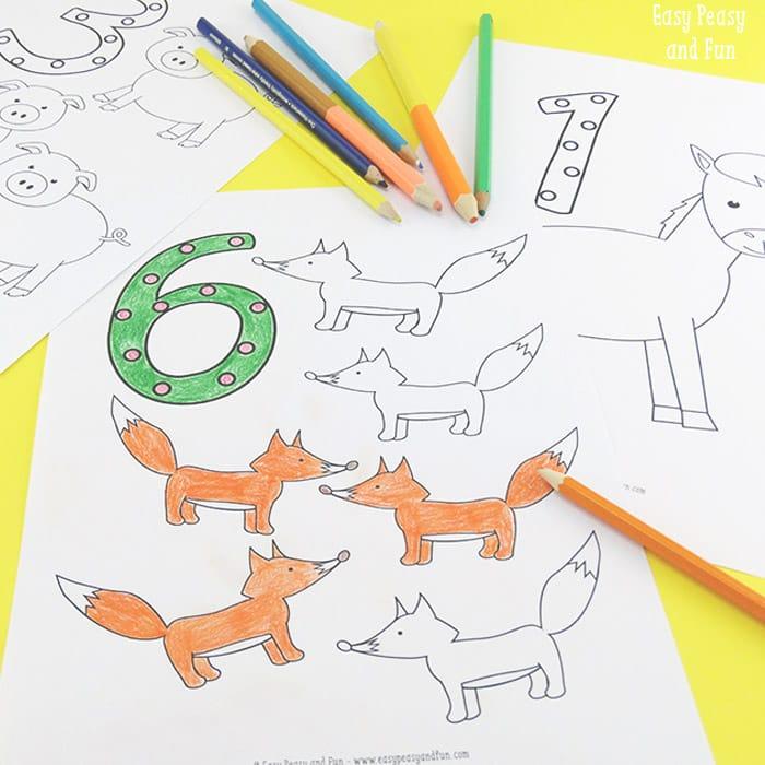 aktiviteter för barn, barnaktiviteter, pyssla och lek, knep och knåp, lektioner, skola, lektionstips, förskola, mattepyssel, matematik, lära sig räkna, lära sig matte, skriva siffror, skriva nummer, målarbilder, färglägga siffror