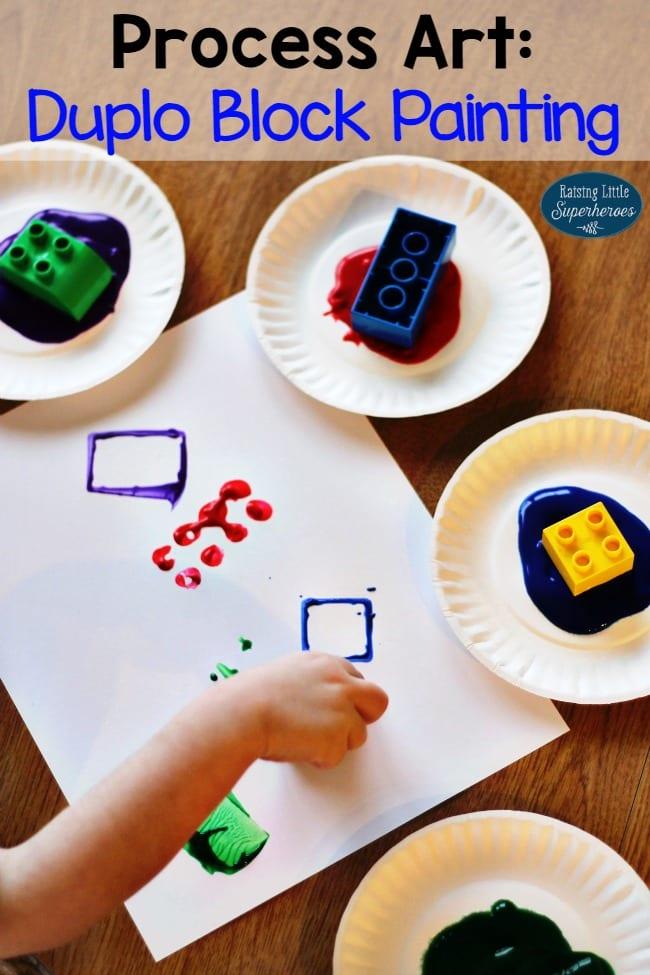 aktiviteter för barn, barnaktiviteter, pyssla och lek, knep och knåp, lektioner, skola, lektionstips, förskola, LEGO Duplo, målar, målarfärg, hobbyfärg, tryck med LEGO-klossar
