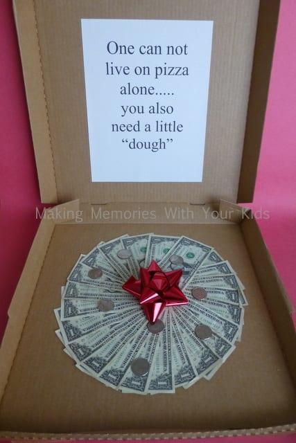 pengapizza, pizzakartong med pengar