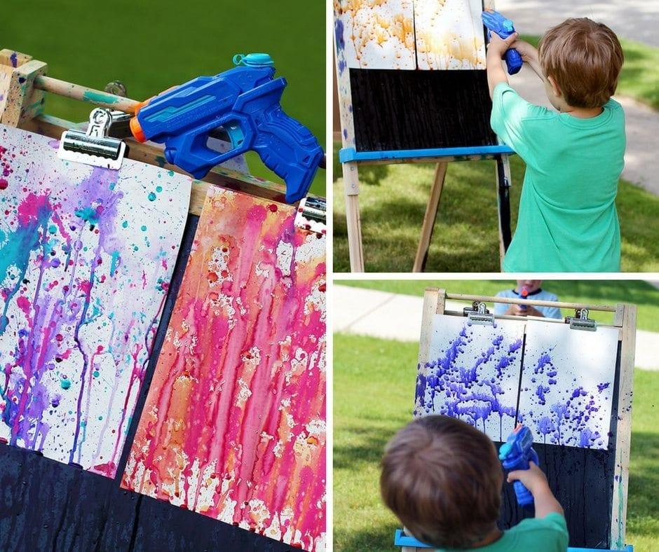 sommaraktiviteter, barnpyssel, måla utomhus, målartekniker
