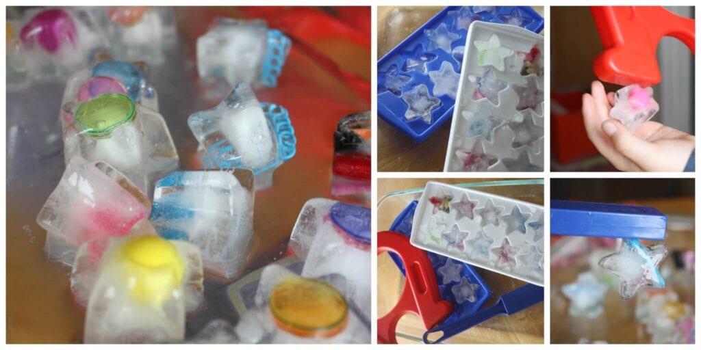 experiment med is, leka med is, pyssla med is