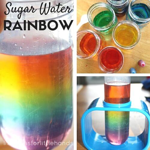 regnbågsexperiment, färgexperiment, regnbågsvatten