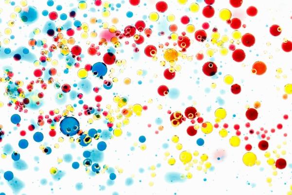regnbågsexperiment, färgexperiment, blanda olja och vatten