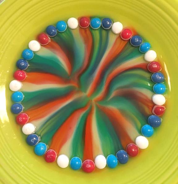 regnbågsexperiment, färgexperiment, experiment med godis, godisexperiment, Skittles experiment