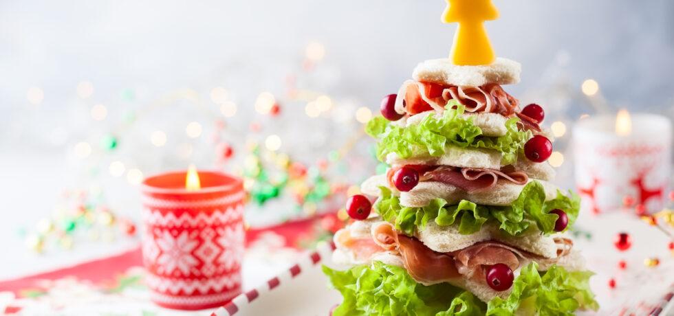 julgran av flera lager smörgås